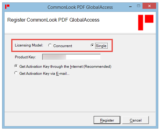 The Register CommonLook PDF GlobalAccess screen with the Concurrent User License radio button highlighted and selected.