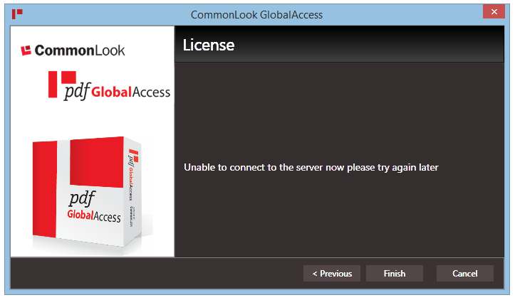 The CommonLook GlobalAccess License Overload error message.