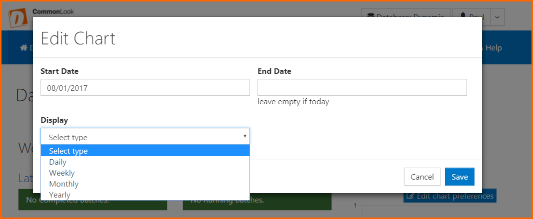 The Edit Chart dialog box with fields for Start date, End date, options to display daily, weekly, monthly, or yearly data, and the Cancel and Save buttons.