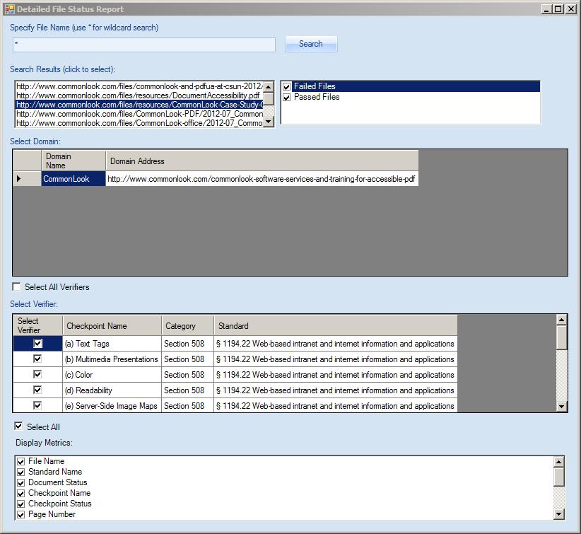 Detailed file status report dialog.