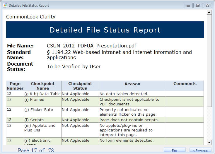 Detailed file status report output example screen-shot.