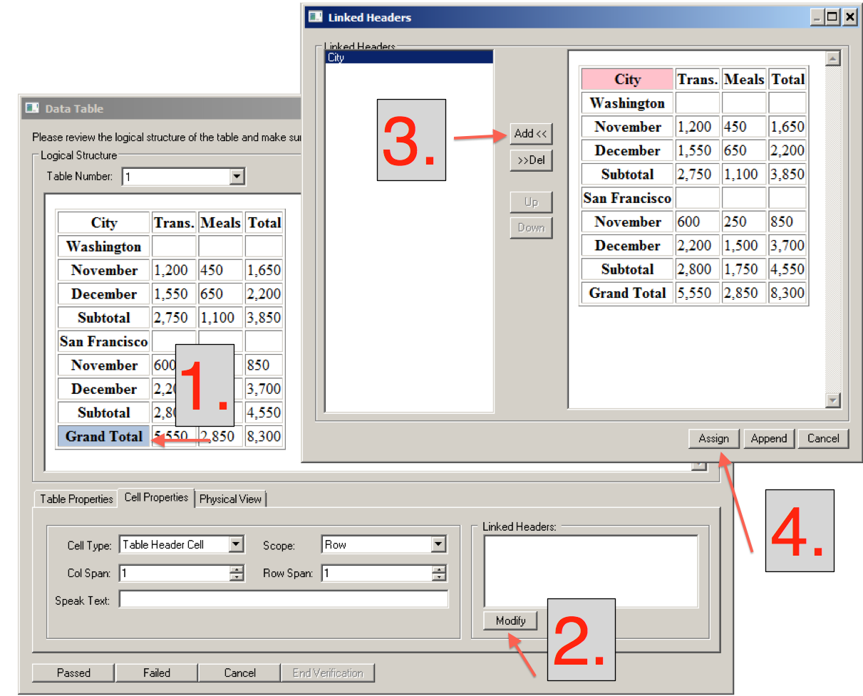 Linked headers dialog showing the four step process of assigning a linked header.
