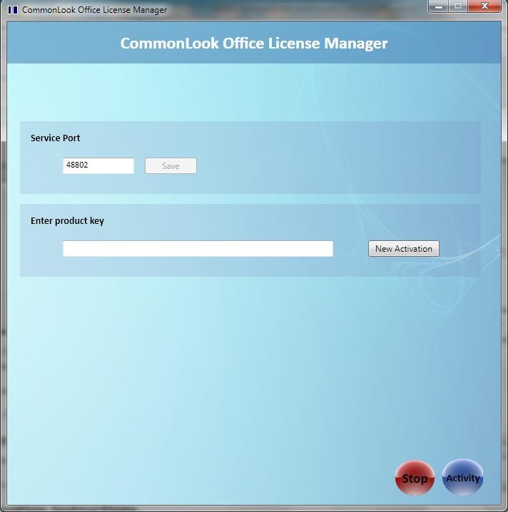 License Manager dialog at start.