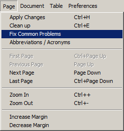 Page menu, Fix Common Problems highlighted.