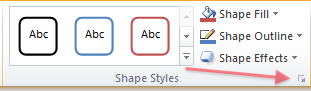 Picture of the Shape Styles group, part of the Drawing Tools tab in the Word ribbon.