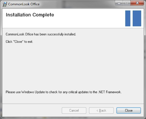Screen shot of installation complete dialog.