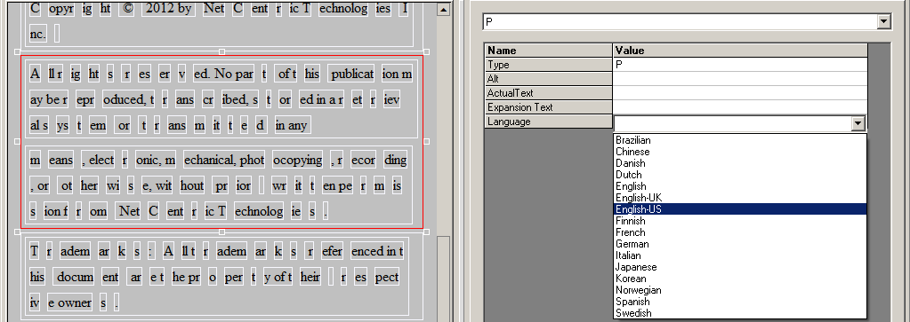 Adjusting a tag's language in the Logical Structure Editor.