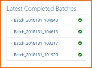 The Latest Completed Batches list on the CommonLook Dynamic Dashboard.