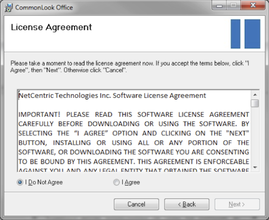 Screen-shot of license agreement dialog.