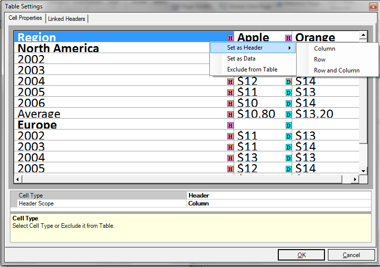 Picture showing the Settings window which provides functionality to edit the properties of the cells and to define linked headers.