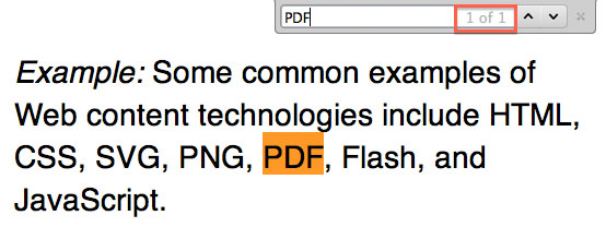"Screenshot showing the only appearance of ""PDF"" in WCAG's normative text: ""Example: Some common examples of Web content technologies include HTML, CSS, SVG, PNG, PDF, Flash and JavaScript."