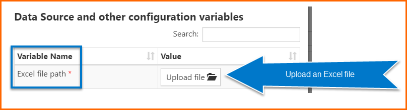 The Data Source and other configuration variables menu with the option for Excel file path and the Upload file button highlighted.