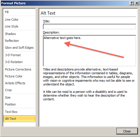 Adding alternative text to images in PowerPoint 2010 indicating use of the Description field in the alt. text tab.