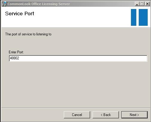 Service port dialog.