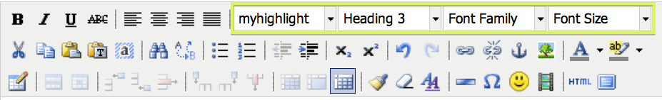 Screen shot of the TinyMCE toolbar with the structure, class and inline font styling selector drop-down menus highlighted.