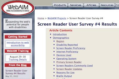 WebAIM's Screen Reader User Survey #4