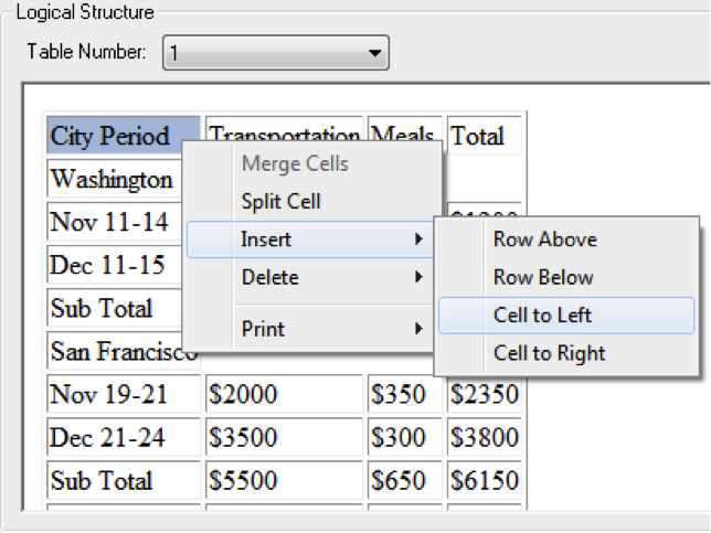 Table editor dialog showing the insertion of a cell to the left of the currently selected cell.