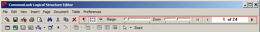 Toolbar with display buttons highlighted.