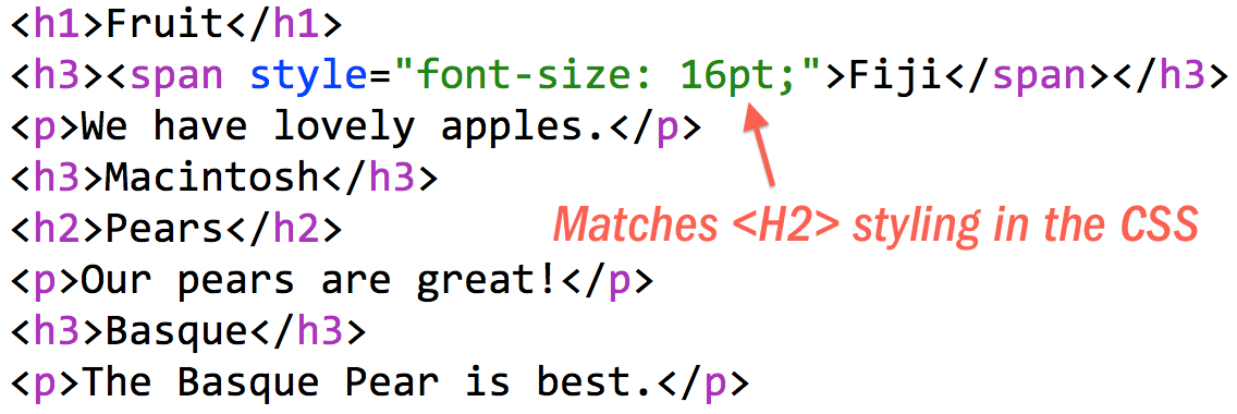 An HTML example showing illogical heading levels. A font-size change makes an H3 render like an H2.