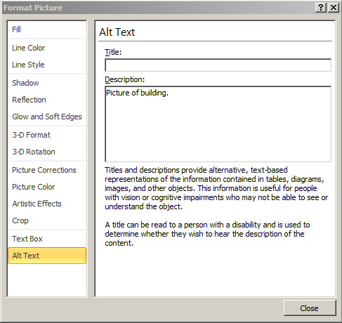 Picture of the dialog box which allows the user to specify the alternative text for an object.