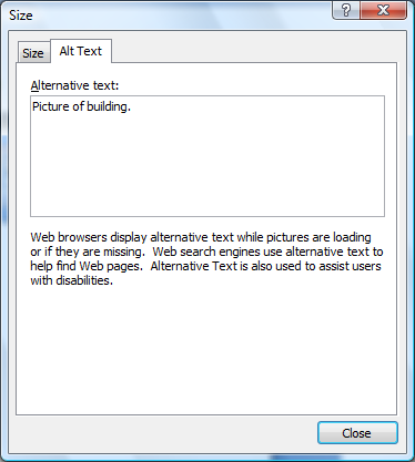 Picture of the Size dialog box which allows the user to specify alternative text for an object.