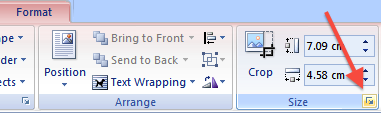 Picture of the Size group which is part of the Format tab in the Word ribbon. The Size group allows the user to open the Size dialog box to change the size of the selected object or to specify alternative text