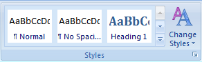 Picture of the Style group which is part of the Home tab in the Word ribbon. The Style group allows the user to apply a style to the selected text.